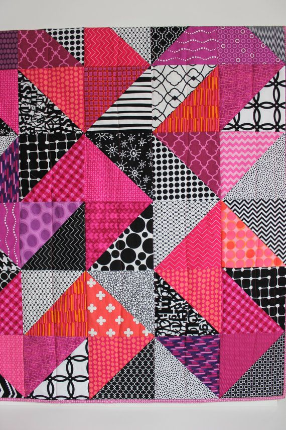 """Modern Baby Quilt; Pink; Magenta; """"Declan""""; Triangles; Contemporary; Baby Quilt, Lap Quilt, Play Mat; Wall Hanging"""