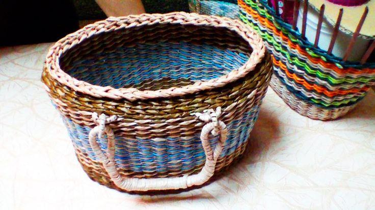 """Elena Tischenko's tutorial of """"Wow to weave newspaper bags.part 3"""""""