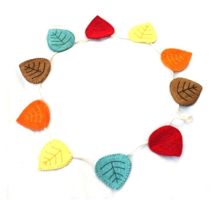 Felt Leaf Bunting Flags | All our felt pieces are handmade by our artisan producers in Nepal
