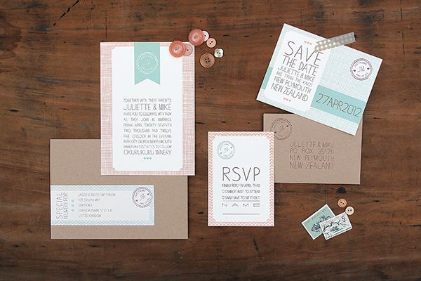 Magnolia Rouge: Salmon & Seafoam Modern Patterned Invitations