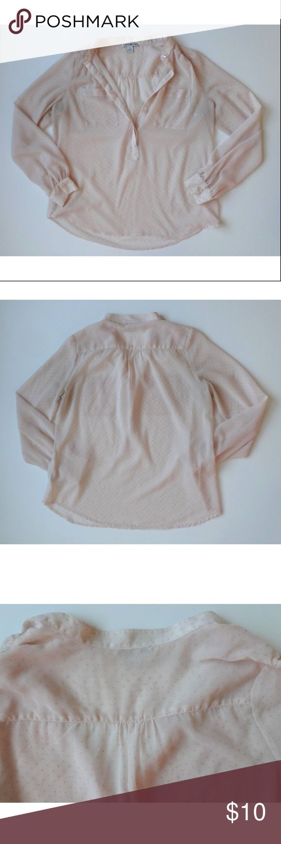 Dalia S Small Light Pink Sheer Swiss Dot Blouse Dalia Womens Light Pink Sheer Swiss Dot Blouse S Small L Large     Size as a small, but measures much bigger! These measurements are more like a large.    Bust: 43 inches (has a very loose fit) Waist: 44 inches Length from shoulder to hem: 25 inches     -Lightweight, sheer blouse with raised swiss dot print -2 front breast pockets -Puckered at shoulders Dalia Tops Blouses