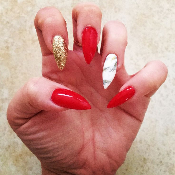 Red, marble and gold acrylic nails