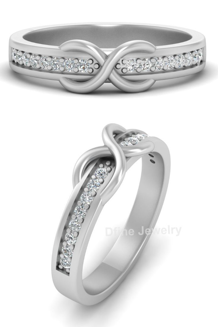 Diamond Infinity Wedding Ring Band Infinity Ring Diamond