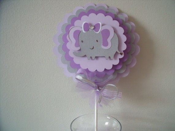 Free Banner With 15 Dollar Purchase Elephant Theme Centerpieces,Table  Accents, Baby Shower Centerpieces, Grey And Purple Centerpieces