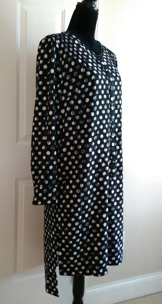 7b8bf302a4ef NWOT - MERONA Black White Polka Dot Tunic Dress Long Sleeves - Size S/P  #Merona #TunicDress #AnyOccasion