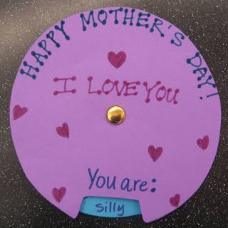Homemade Mother's Day Card kids can make.  I love how it spins and Mom can read what the child thinks about her!