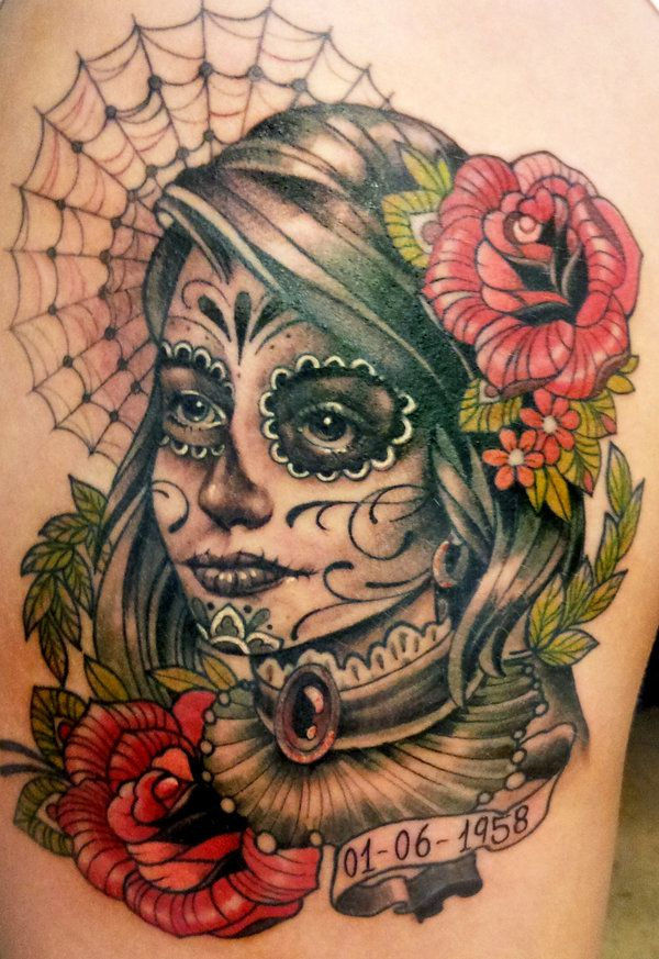 day dead face girl of tattoo the sugar skull 40 day of the dead tattoo designs for. Black Bedroom Furniture Sets. Home Design Ideas