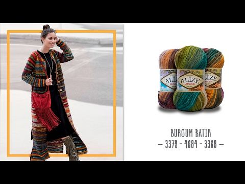 3 Farklı Batik İplikle Uzun Hırka - Long Cardigan with 3 Different Color of Batik Yarns - YouTube