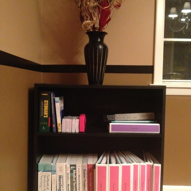 My Bookshelf with my books and binders for Nursing School! I start Monday, July 9th!! Eek