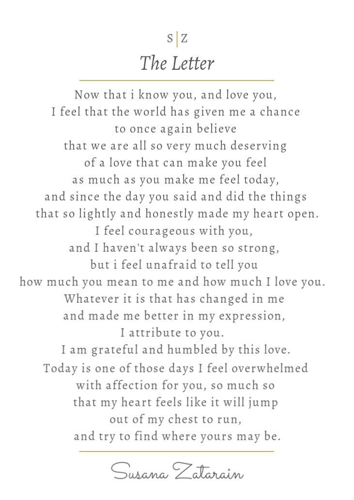 The Letter - when I felt overwhelmed with love for you    written by Susana Zatarain
