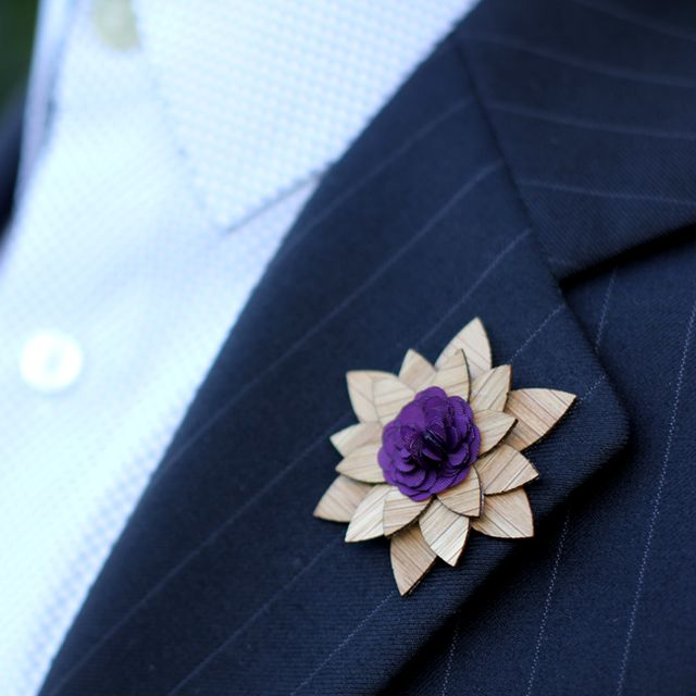 Fancy - Concord Wooden Lapel Flower by Two Guys Bow Ties