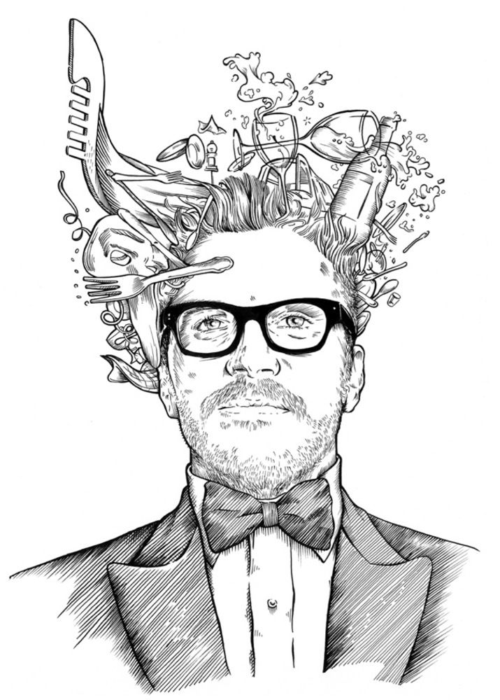Illustration of a restaurant owner for business cards by Joan Chito (Agency: Losiento, Barcelona). | #illustration #portrait #drawing | www.losiento.net