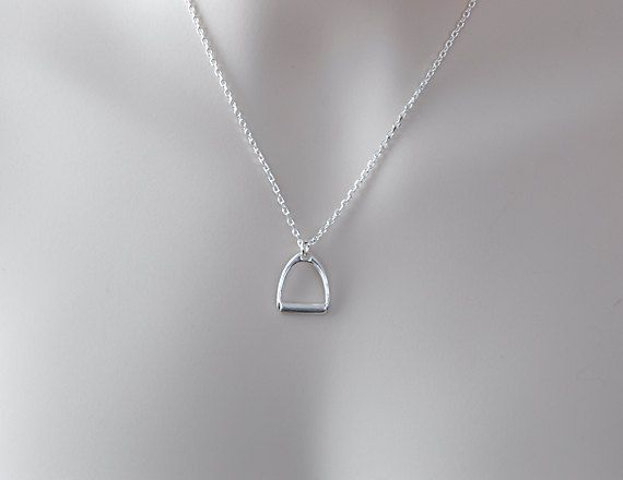 """STERLING ENGLISH STIRRUP Necklace Horse Lover Jewelry Gift for Equestrian Hunter Jumper Dressage Gift Sterling Silver Necklace 16"""" Long"""