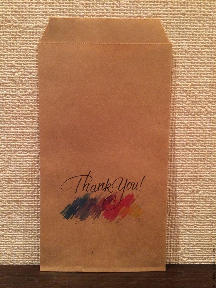 Купить Крафт пакет с рисунком 10х19,5 см - коричневый, бумажный пакет, пакет