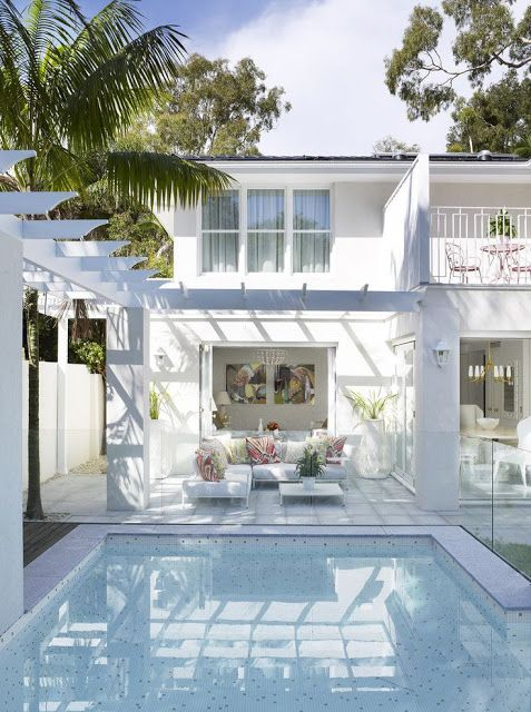 Palm Beach Style; love this pool bottom and the white outdoor living