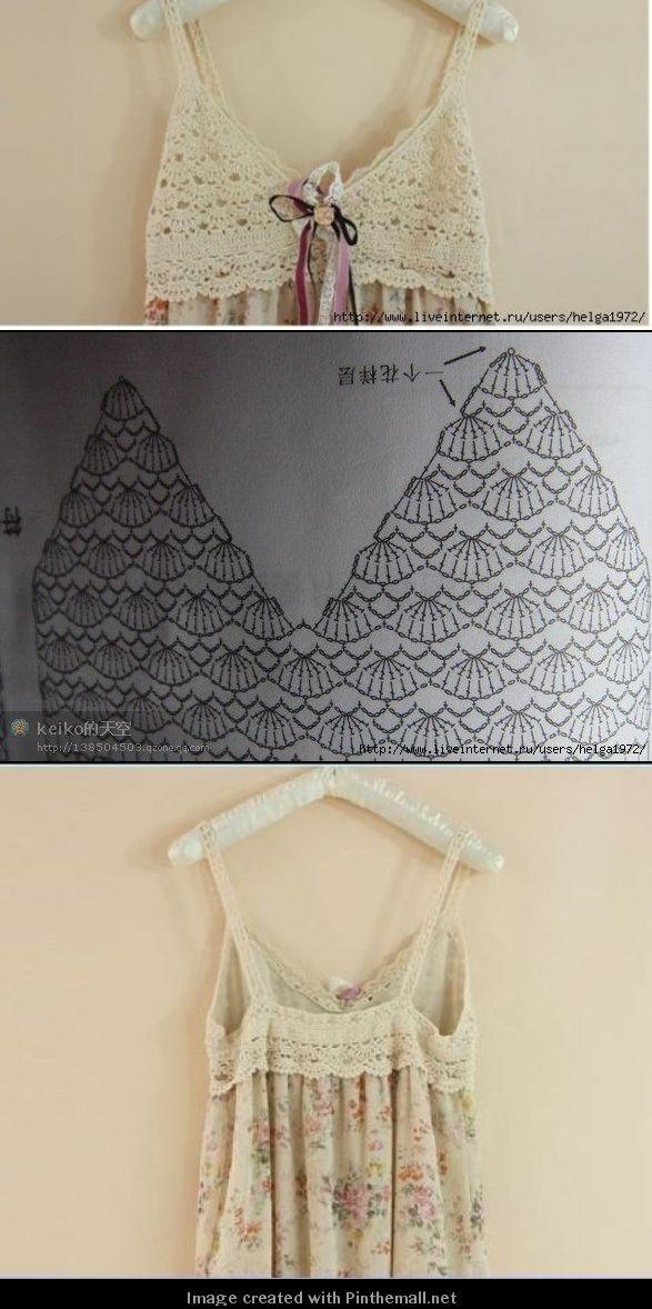 Pala de crochê para vestido, blusa ou mesmo uma camisola