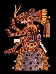 Tepeyollotl, Heart of the Mountain, the Jaguar of Night, lord of the animals, darkened caves, echoes and earthquakes. Tepeyollotl is a variant of Tezcatlipoca. The spots on his coat represent the stars in the sky.  For more Eastern and Western #Natal Chart Reports- www.fb.com/madamastrology