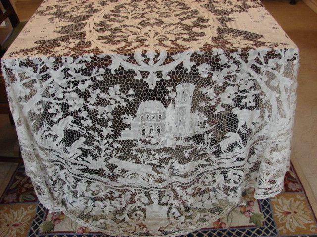 Point De Venise Needle Lace Tablecloth French Castles Hunt Scenes
