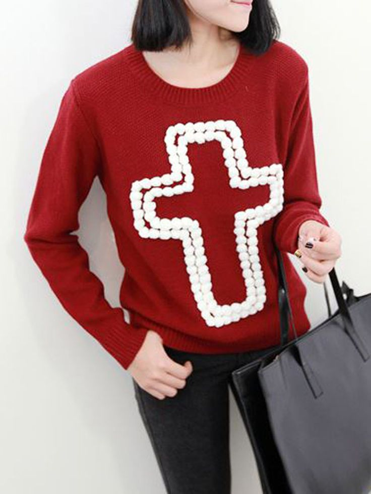 Red Knited Sweater With Cross Pattern - Fashion Clothing, Latest Street Fashion At Abaday.com