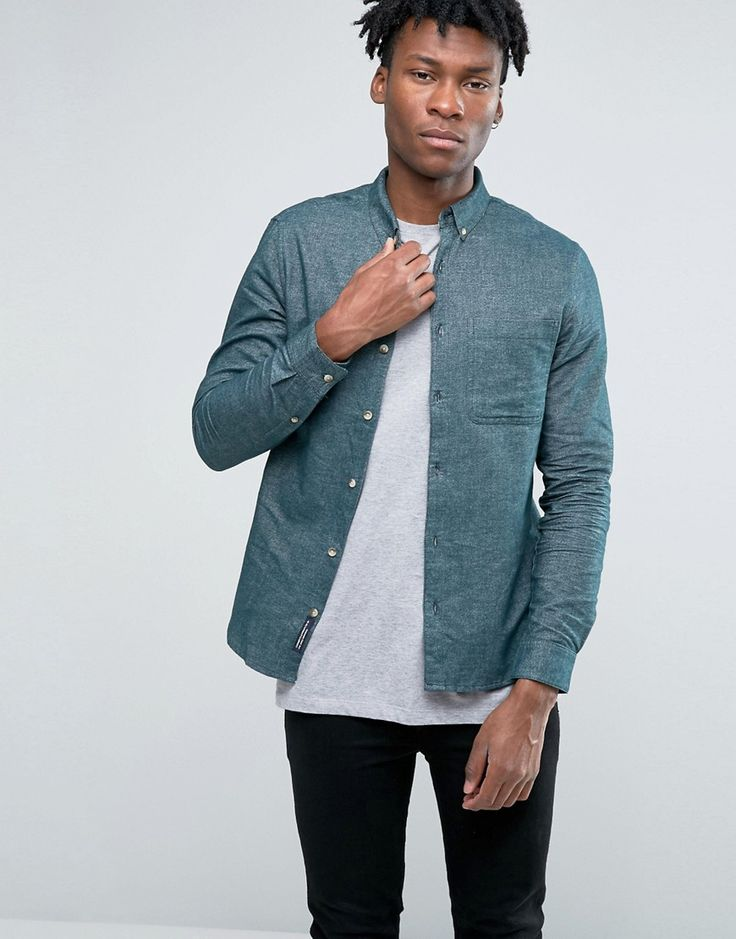 Image 1 ofPull&Bear Oxford Shirt In Green In Regular Fit