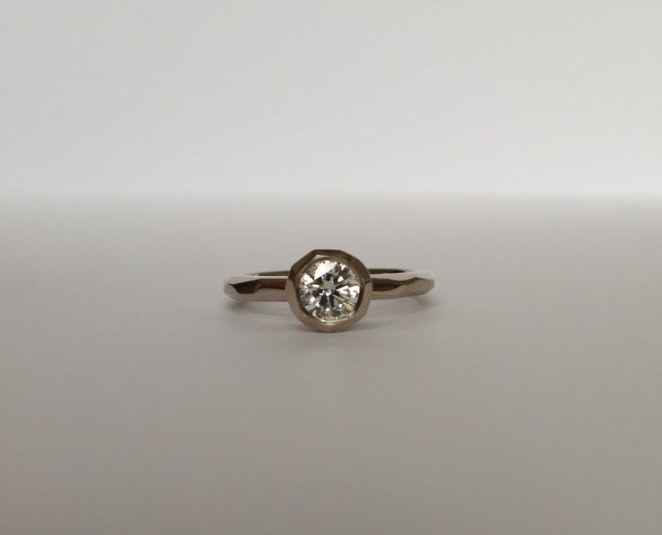 18ct white gold Faceted cup setting with white diamond. www.kristamcrae.com