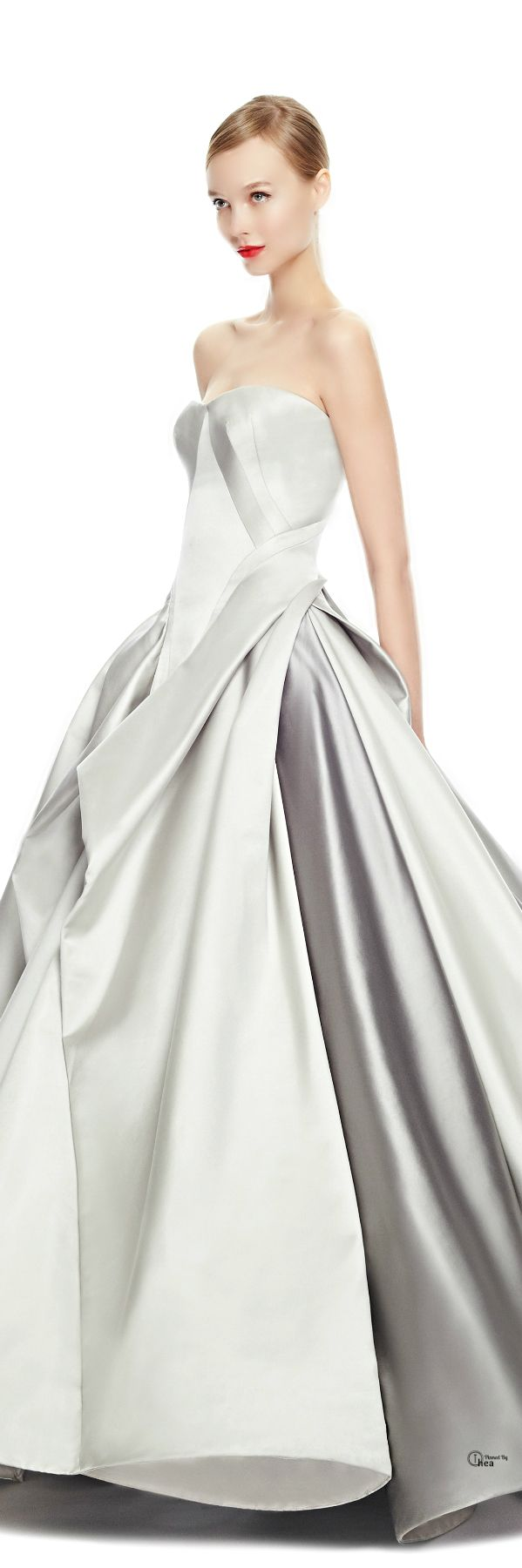 Zac Posen ● FW 2014, Duchess Satin Gown.  I love the architectural element to this gown, it's amazing but boy do you have to be tall to pull it off!!!