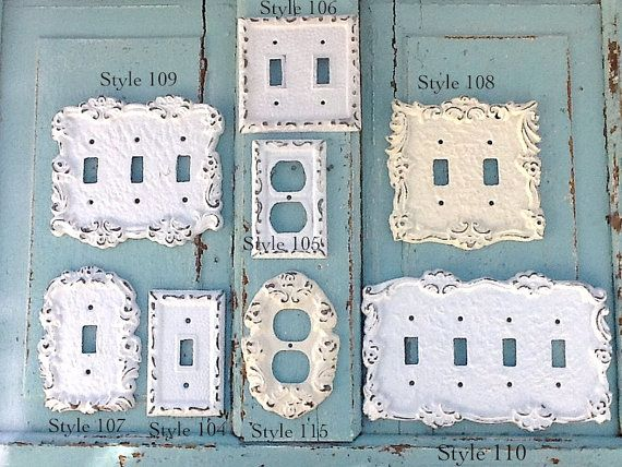switch outlet cover plates metal wall decor true white creamy white style 119 - Decorative Light Switch Covers