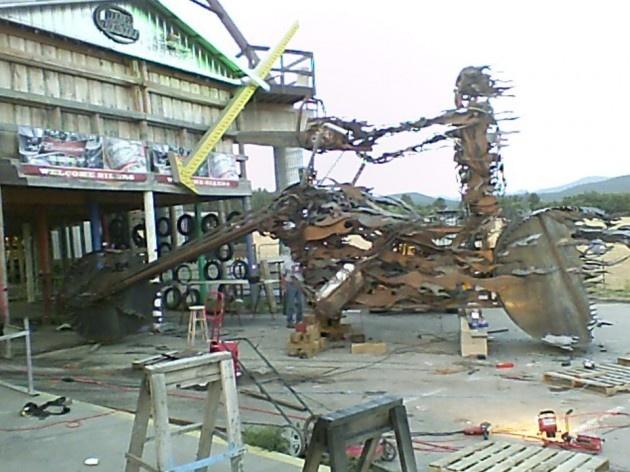 Hillbilly Hell Rider, metal sculpture at the Full Throttle Saloon