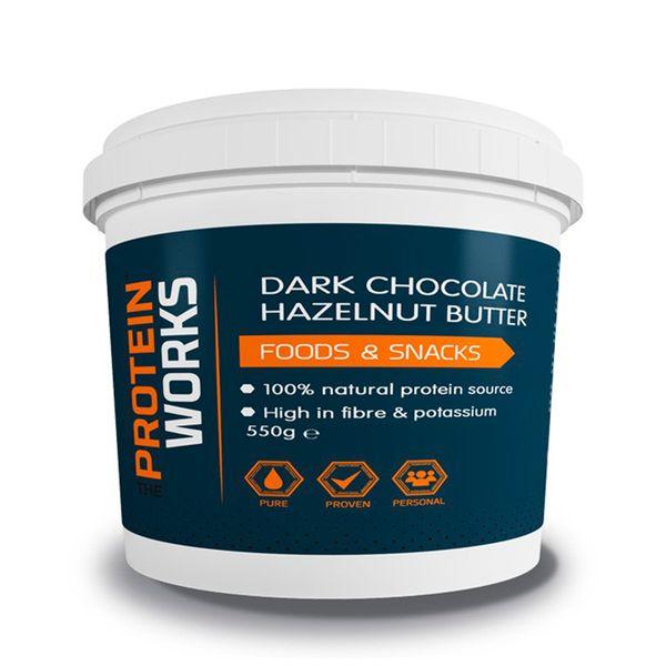 Dark Chocolate Hazelnut Butter - The Protein Works - Benefícios Chave - Feito com 100% avelãs torradas naturais. - Excelente fonte de proteína e elevado teor em fibra. - Produzido com 85% de chocolate amargo e cacau.