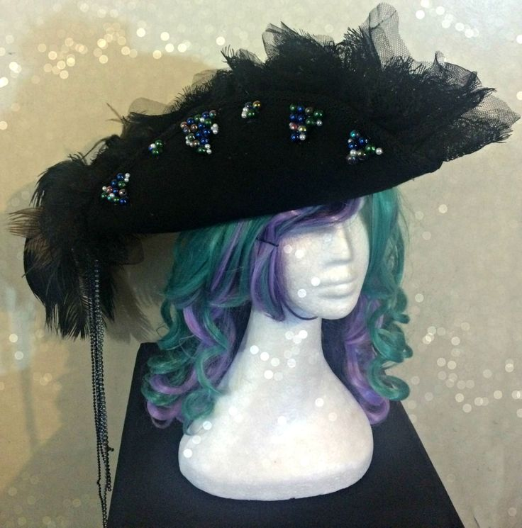 New to AdoredAdornmentsShop on Etsy: Black Captain Hook Peter Pan Style Tricorn Pirate Hat Steampunk Airship Fantasy (155.00 AUD)