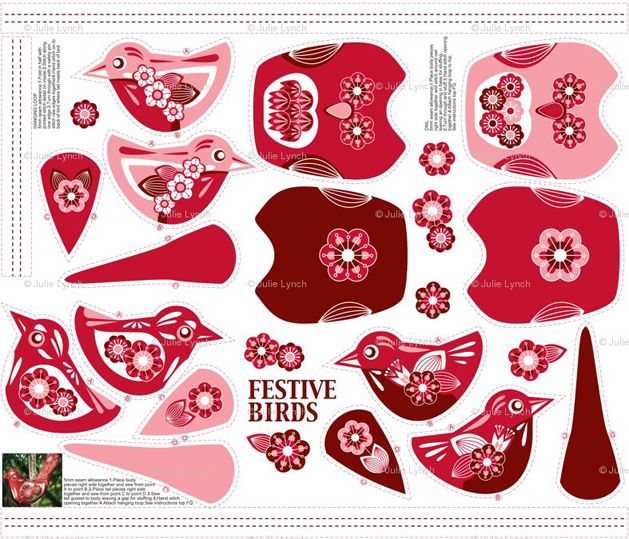 Fabric Ornaments Patterns : Hanging Ornament Pattern Fabrics