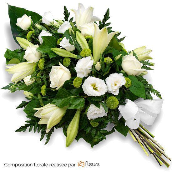 Fleurs Deuil Gerbe de fleurs piquées Sagri