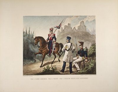 Uhlan and infantry - page 10 of a Polish illustrated album commemorating the November Uprising in 1831, published by Karol Kozlowski, printed by Czcionkami Drukarni Dziennika Poznan Boskiego, c.1887 Wall Art & Canvas Prints by Juliusz Fortunat Kossak