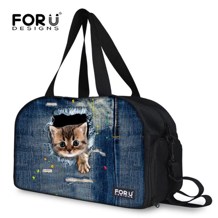 Cute Denim Pet Cat Animal Print Canvas Women Travel Duffle Bag Large Capacity Female