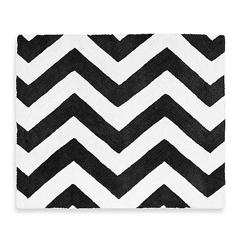 Sweet Jojo Designs' Chevron Bedding centers around a bold chevron print in black and white. Complete the look of your chevron-themed room with this super-soft tufted rug.