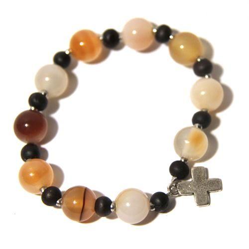 Acheter : Bracelet dizainier Agate nature (jaune-orange) et bois foncé - Argent, Les argents, Bracelets dizainiers, Artisanat religieux - Monastica
