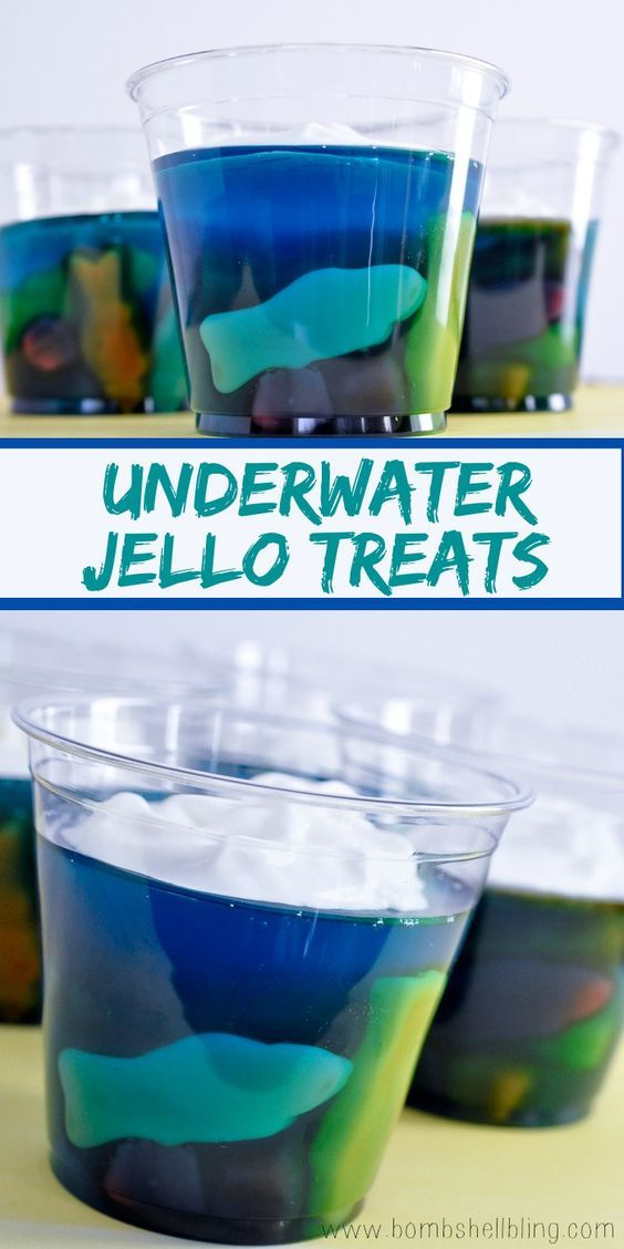 Pool Party : Snacks : Underwater Jello Treats : Adorable fish treats made using jello and gummy fish! Easy and fun to make - sure to be a hit at any kids birthday, pool party, or afternoon with friends