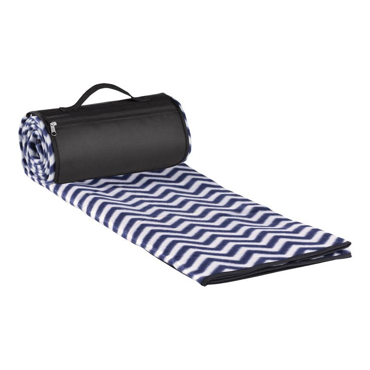 Picnic Blanket - Blue Chevron. Large picnic / stadium blanket. Water resistant black backing. Black zippered flap with handle. Nicely complements many of our picnic bags and coolers.