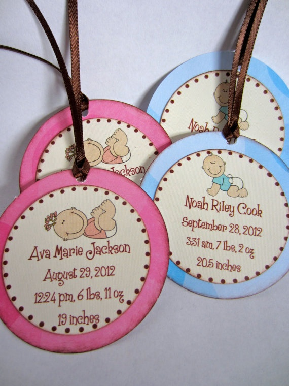 Baby Shower Announcement Tags by boutiquesheek on Etsy, $10.50