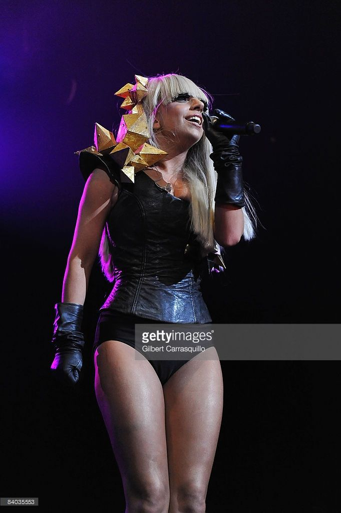 Singer Lady GaGa performs during the 2008 Q102 Jingle Ball at the Susquehanna Bank Center on December 14, 2008 in Camden, New Jersey.