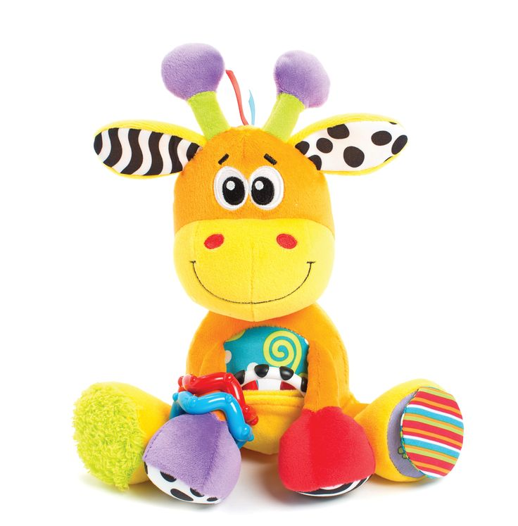 Activity Friend Giraffe-This friendly face will give your baby hours of developmental encouragement with his many features. The Giraffe Activity Friend has a hidden pouch where your child can discover a mirrored teething link for those sore gums. His Vibrant coloured arms have click-clack rings, squeeks and textured fabric. He has crinkle feet and soft ribbons on his head for auditory and sensory development.