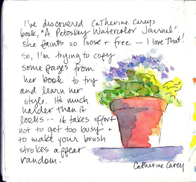 "Need to investigate Catherine Carey's style & her book ""A Petroskey Watercolor Journal"""