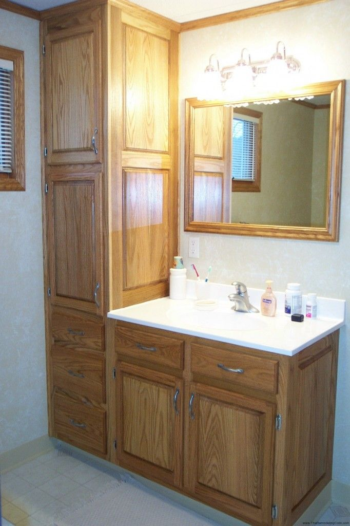 Elegant Cheap Bathroom Vanities With Tops With Brown Tall Cabinet Single Handle