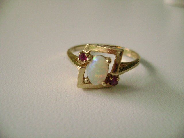 10k Yellow Gold Opal And Ruby Ring Opal And Ruby Ring 10k Opal Rings Rings Gold Rings