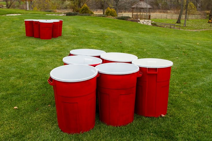 "Giant Beer Pong is a super sized version of the classic beer pong game. Using 55 gallon ""Solo Cups"" and an oversized ""ping pong"" ball play this game the same way you play the beer pong."
