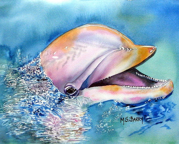 Dolphin Painting by Maria Barry - Dolphin Fine Art Prints and Posters for Sale