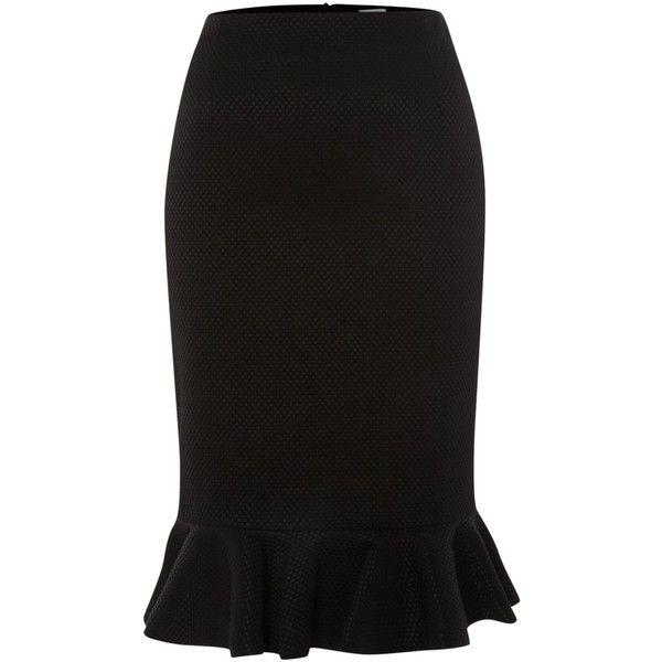 Untold Peplum hem textured skirt ($34) ❤ liked on Polyvore featuring skirts, black, peplum skirt, cotton pencil skirt, knee length pencil skirt, textured pencil skirt and zipper pencil skirt
