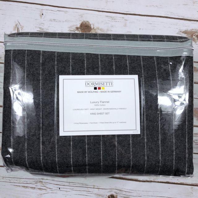 NEW Dormisette German Luxury Flannel King Size Sheet Set Dark Gray Pinstripe   eBay