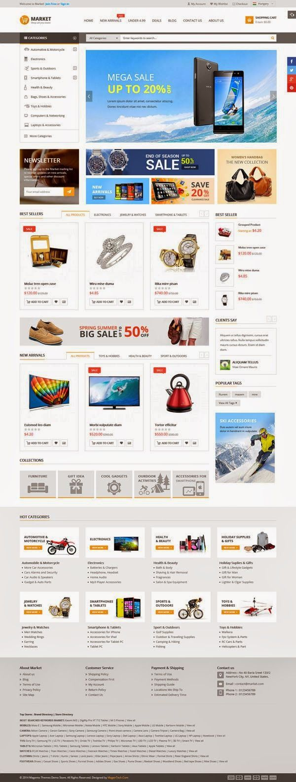Market is a responsive multipurpose #Magento theme which is fully customizable and suitable for any kind of #onlineshop. This theme comes with a lots of color styles. Allows you to control appearance of your product such as product name, image, reviews and other useful information in organic Google search results, increasing click through rates and improve quality #traffic to your store.