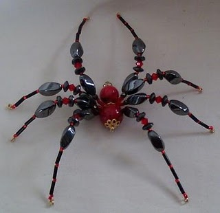 Beaded spiders. Instructions can be found w/ Google. This page has various designs as inspiration.